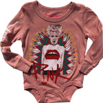 Rowdy Sprout Pink Long Sleeve Onesie, Zephyr Pink