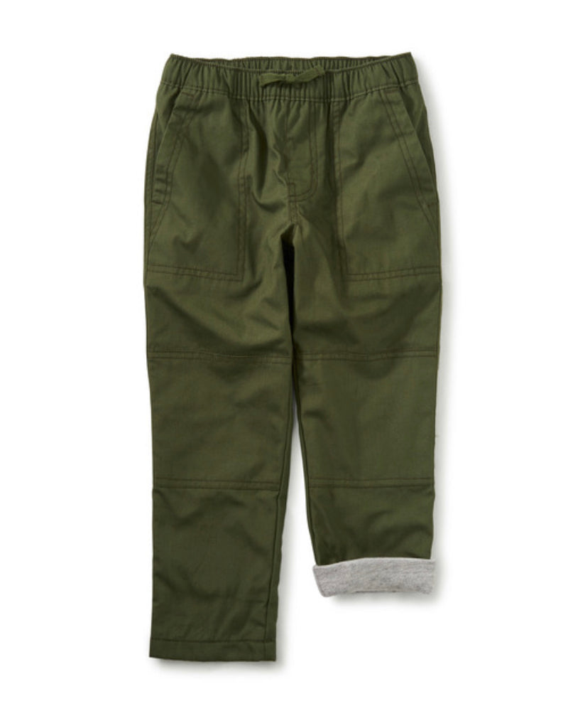 Tea Collection Cozy Jersey Lined Pant, Arugula