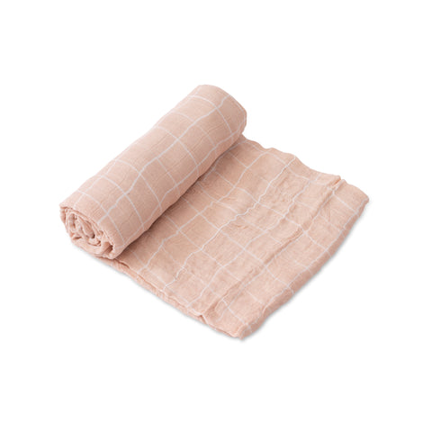 Deluxe Muslin Swaddle, Pink Windowpane