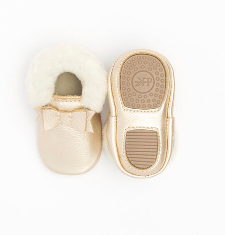 Platinum Shearling Bow Moccasins Mini-Sole