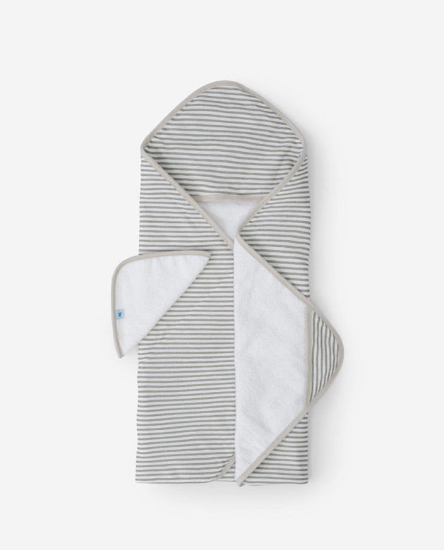 Cotton Hooded Towel & Wash Cloth Set, Grey Stripe