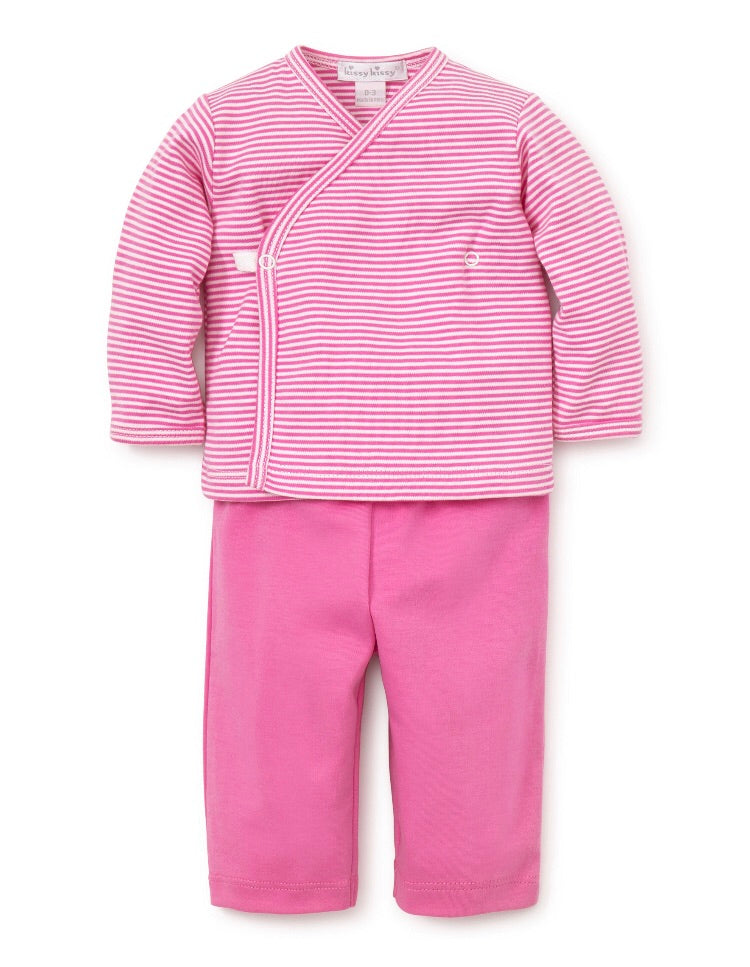 Kissy Essentials Pant Set with Long Sleeve Cross Tee, Fuschia Kissy Kissy