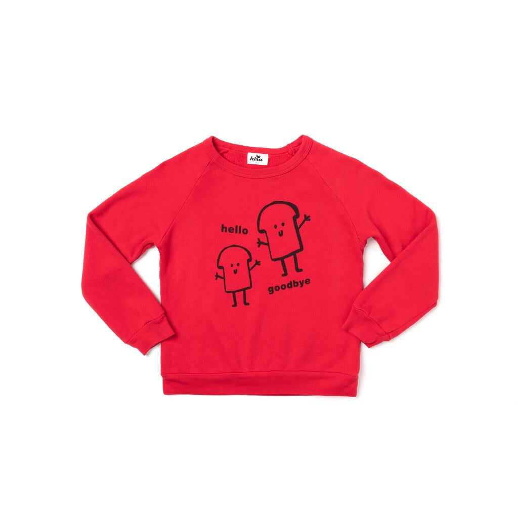 Bread Guys Graphic Raglan Sweatshirt, Red