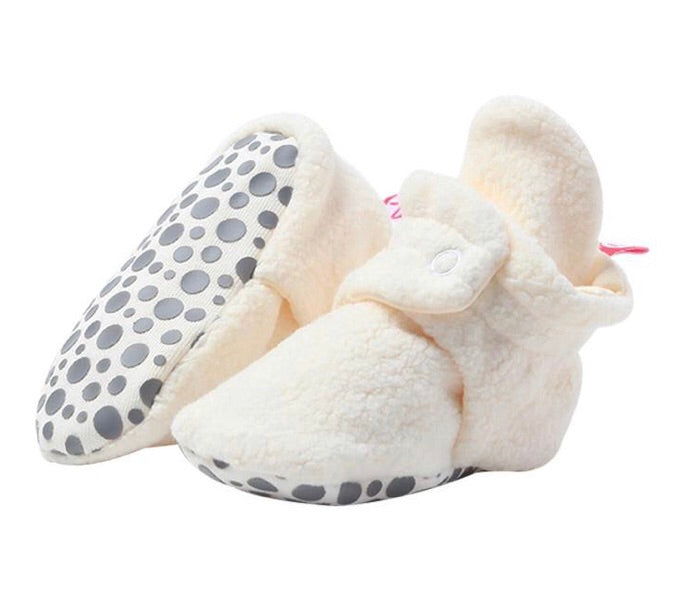 Cozie Fleece Gripper Bootie, Cream