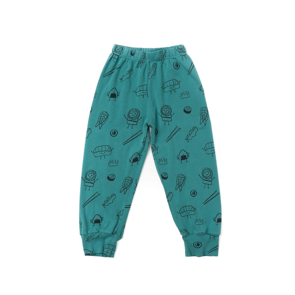 Sushi Print Bubble Pants, Dark Turquoise