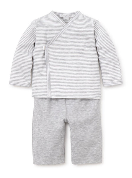 Kissy Essentials Pant Set with Long Sleeve Cross Tee, Grey