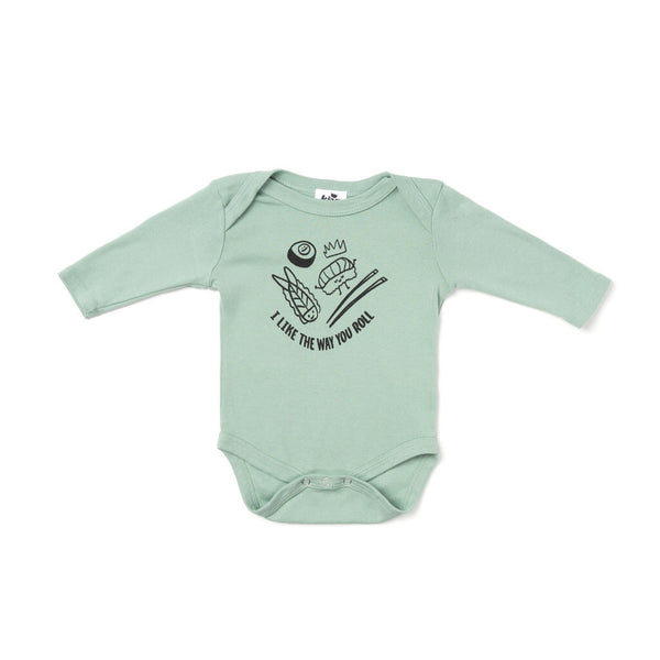 Roll Graphic Long Sleeve Onesie, Celadon