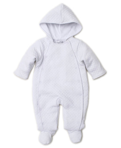 Jacquard Footie with Hood, White