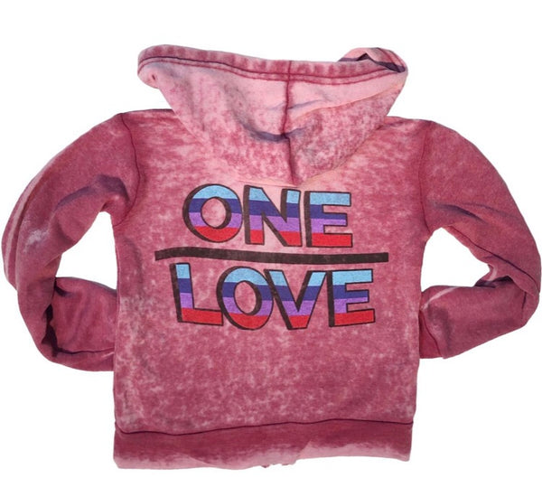 One Love Pink Burnout Hoody