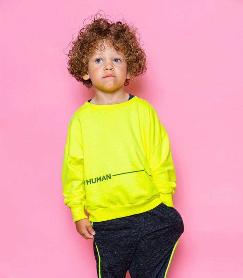 Good Human Sweatshirt, Neon Yellow