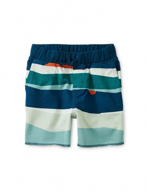 Printed Cruiser Shorts, Ocean Waves Tea Collection