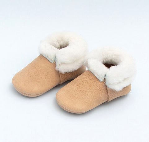Weathered Brown Shearling Moccasins