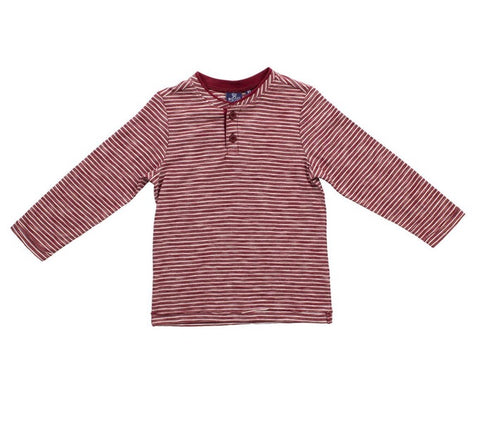 Burgundy Striped Henley