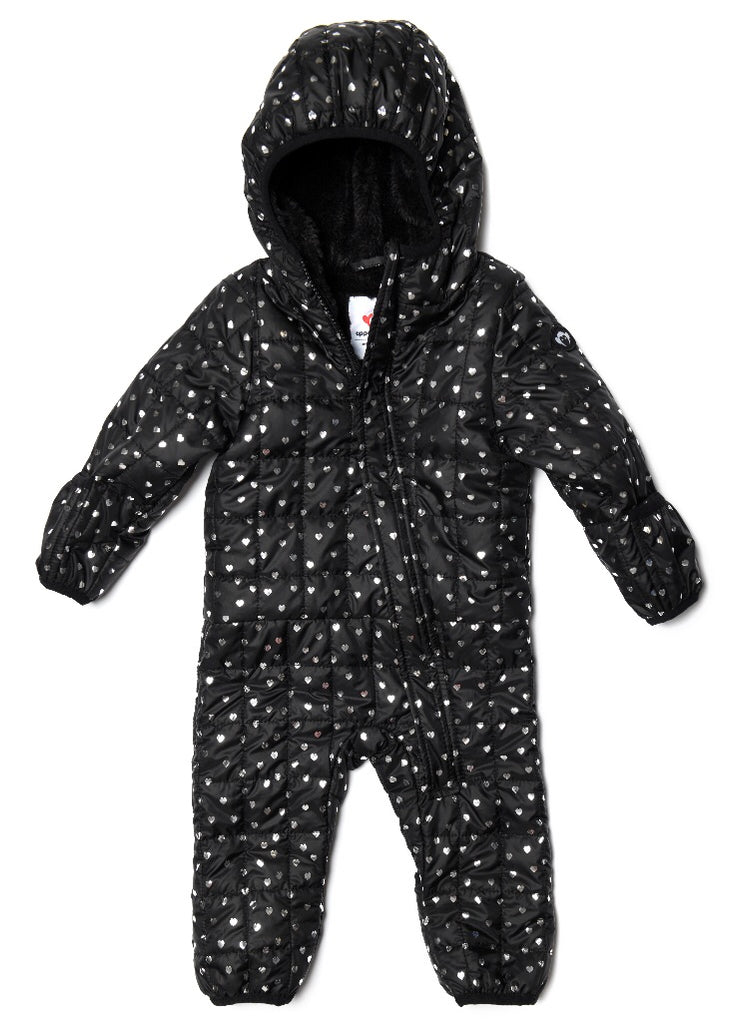 Lightweight Snowsuit, Silver Hearts