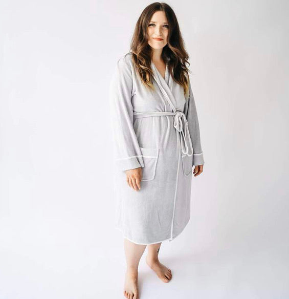 Adult Bath Robe in Storm with Cloud Trim