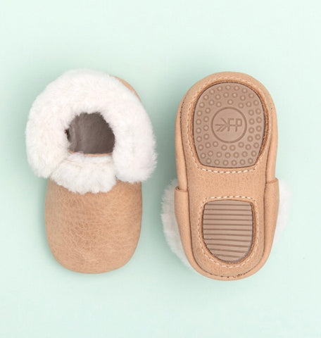 Weathered Brown Shearling Moccasins Mini-Sole