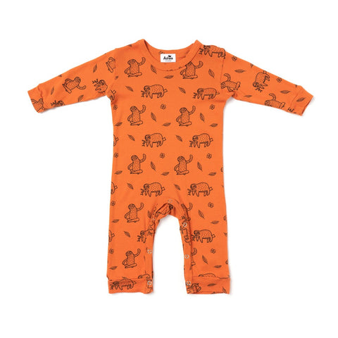 Sloth Print Long Sleeve Romper, Copper