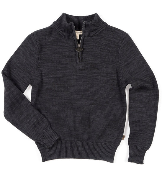 Mock Neck Sweater, Charcoal Heather