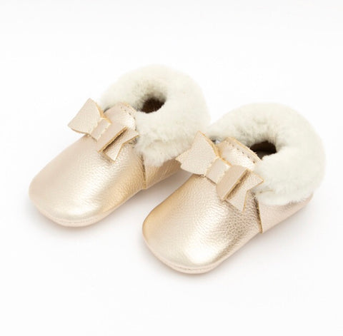 Platinum Shearling Bow Moccasins