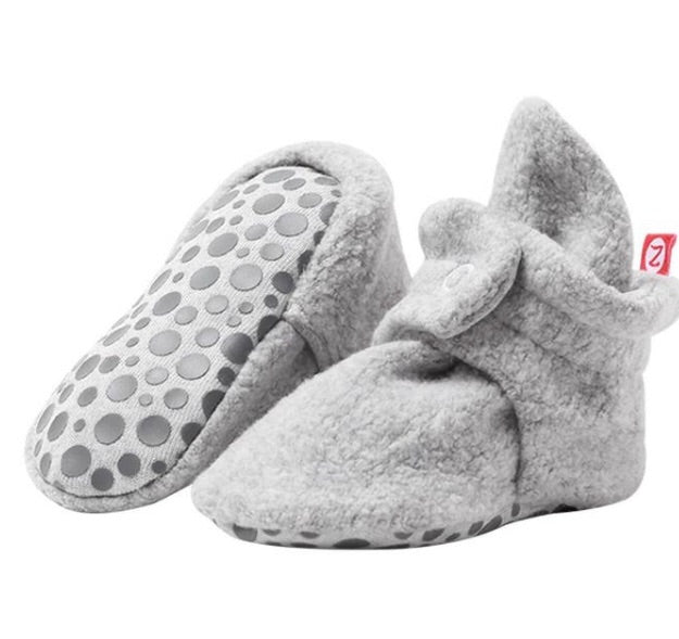 Cozie Fleece Gripper Bootie, Gray Heather