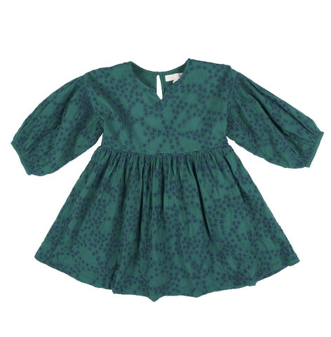 Celeste Dress, Evergreen with Embroidery