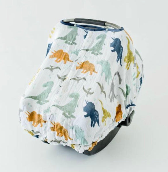 Cotton Muslin Car Seat Canopy, Dino Friends