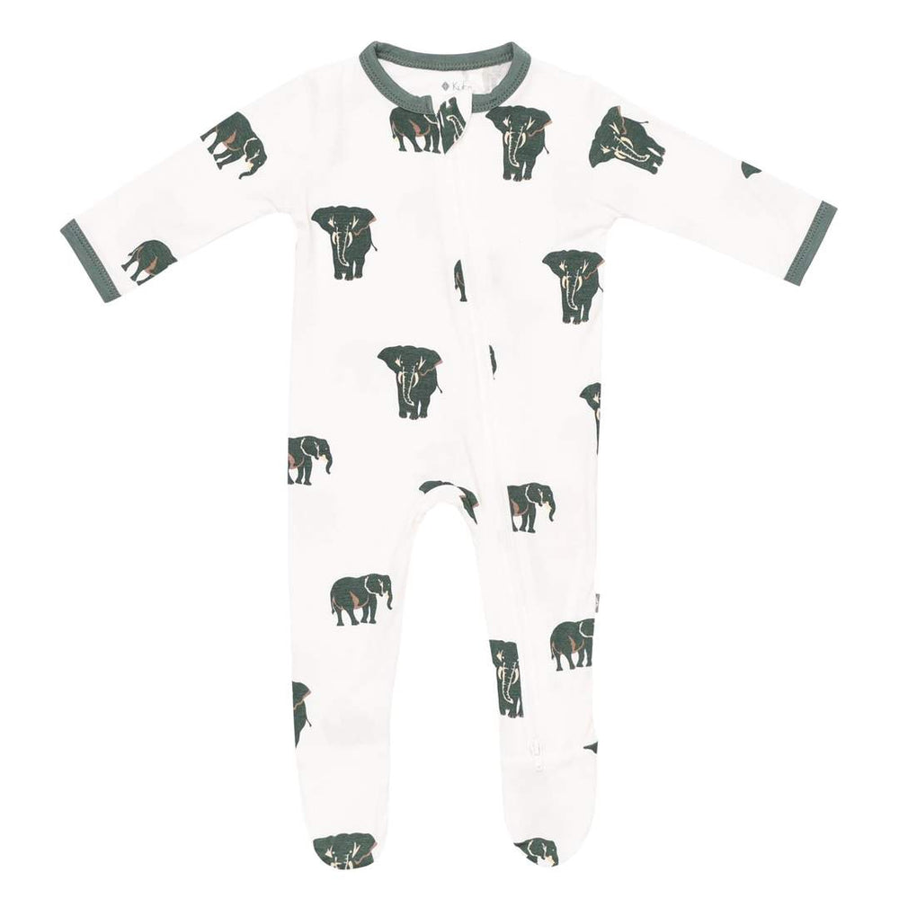 Printed Zippered Footie in Elephant