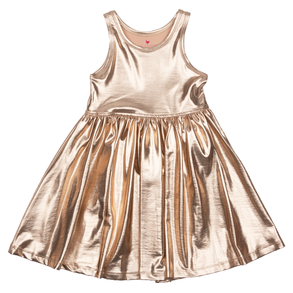 Liza Lame Dress, Rose Gold