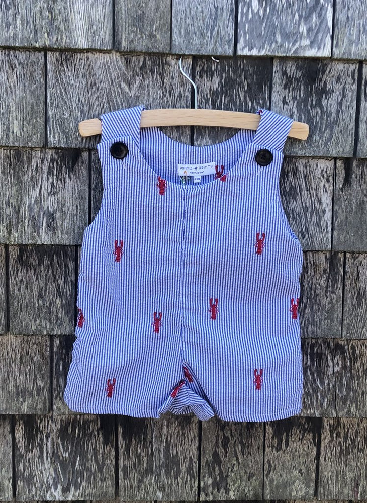 The Lobster Romper - Royal Seersucker with Red Lobsters Piping Prints