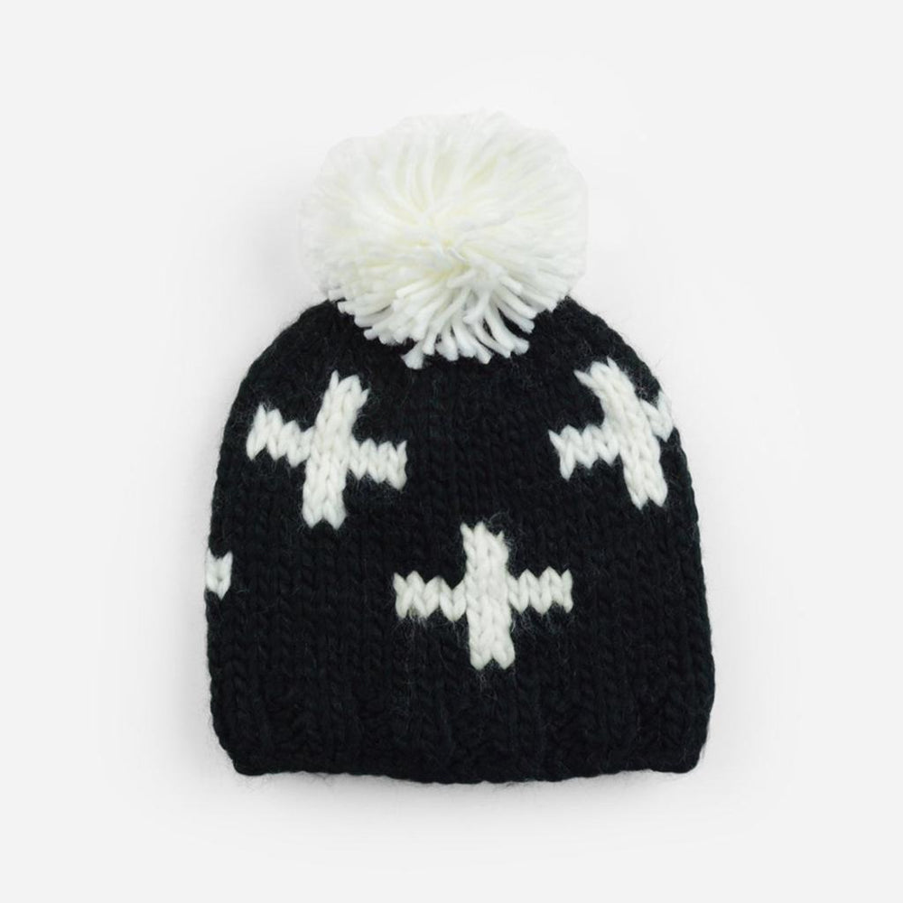 Miko Swiss Cross Knit Hat, Black and White