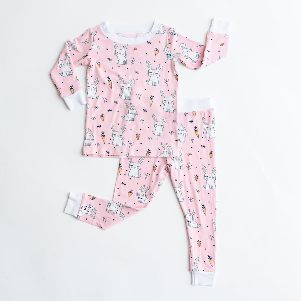 Pink Bunnies Two-Piece Bamboo Viscose Pajama Set