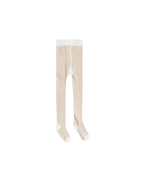 Striped Ribbed Tights, Honey/Ivory