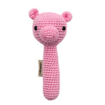 Pig Stick Hand Crocheted Rattle Cheengoo