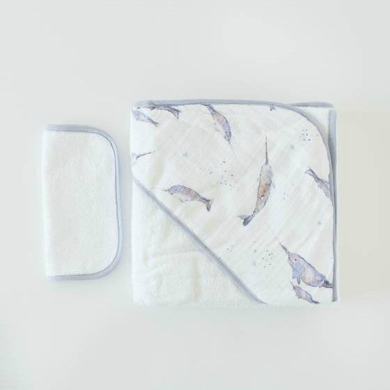 Cotton Hooded Towel & Wash Cloth Set, Narwhal