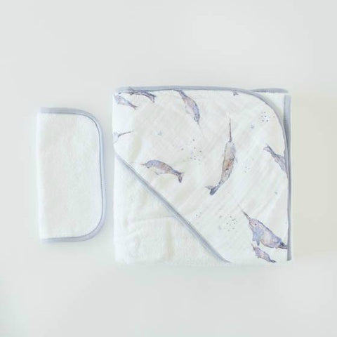 "Cotton Hooded Towel & Wash Cloth Set, ""Narwhal"""