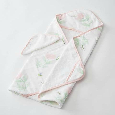 Cotton Hooded Towel & Wash Cloth Set, Pink Peony