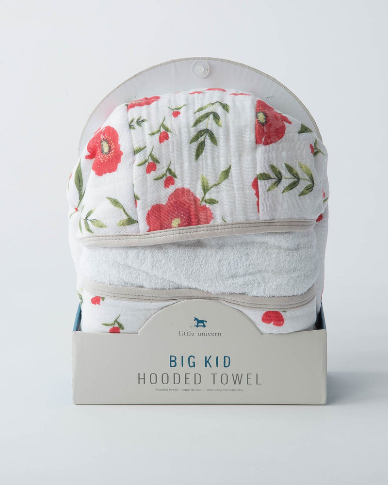 Big Kid Hooded Towel, Summer Poppy