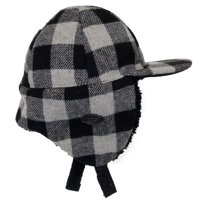 Plaid Wool Blend Hat, Grey Plaid