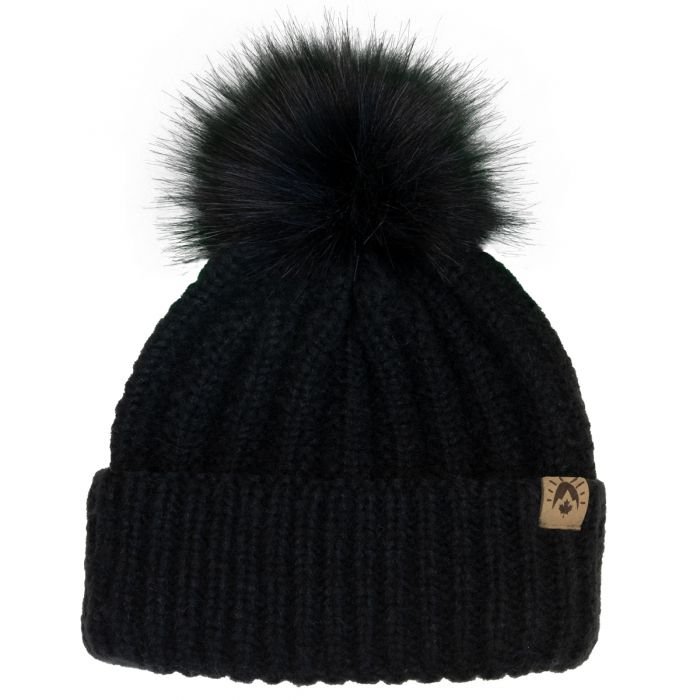 Pompom Winter Hat, Black