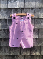 The Whale Romper - Red Seersucker with Navy Whales
