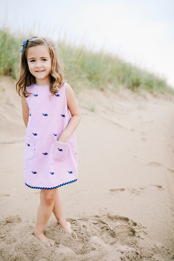 Navy Whale Dress with Red Seersucker Piping Prints