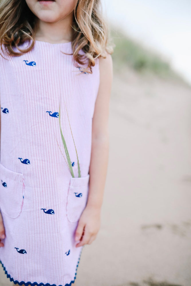Navy Whale Dress with Red Seersucker