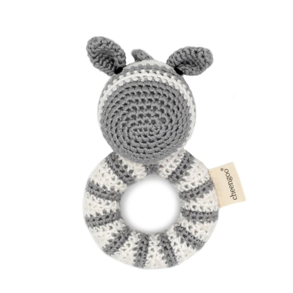 Zebra Ring Hand Crocheted Rattle