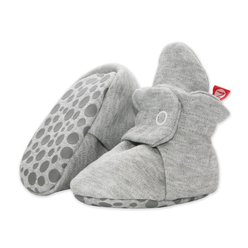 Cotton Gripper Baby Bootie, Heather Grey