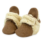 Cozy Furry Baby Bootie, Heather Mocha