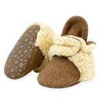 Cozie Furry Gripper Bootie, Heather Mocha