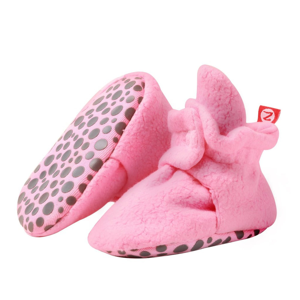 Cozie Fleece Gripper Bootie, Hot Pink