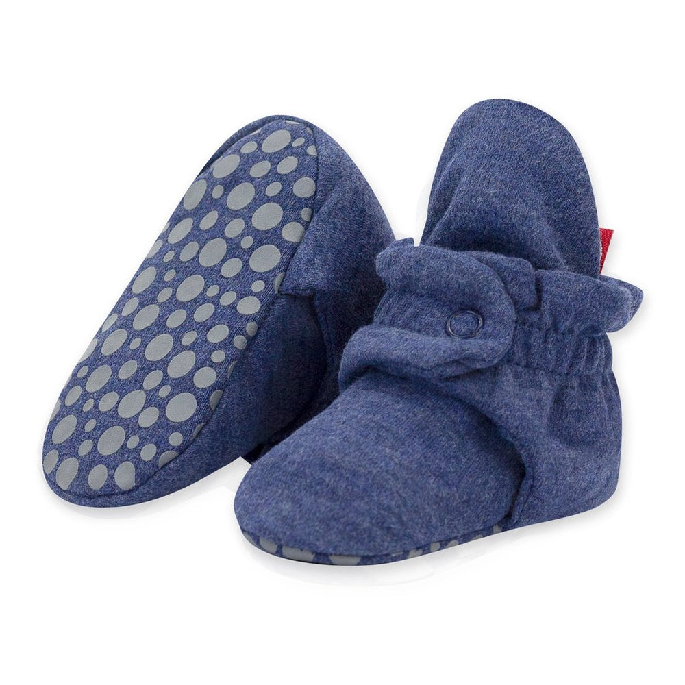 Cotton Gripper Baby Bootie, Heather Navy