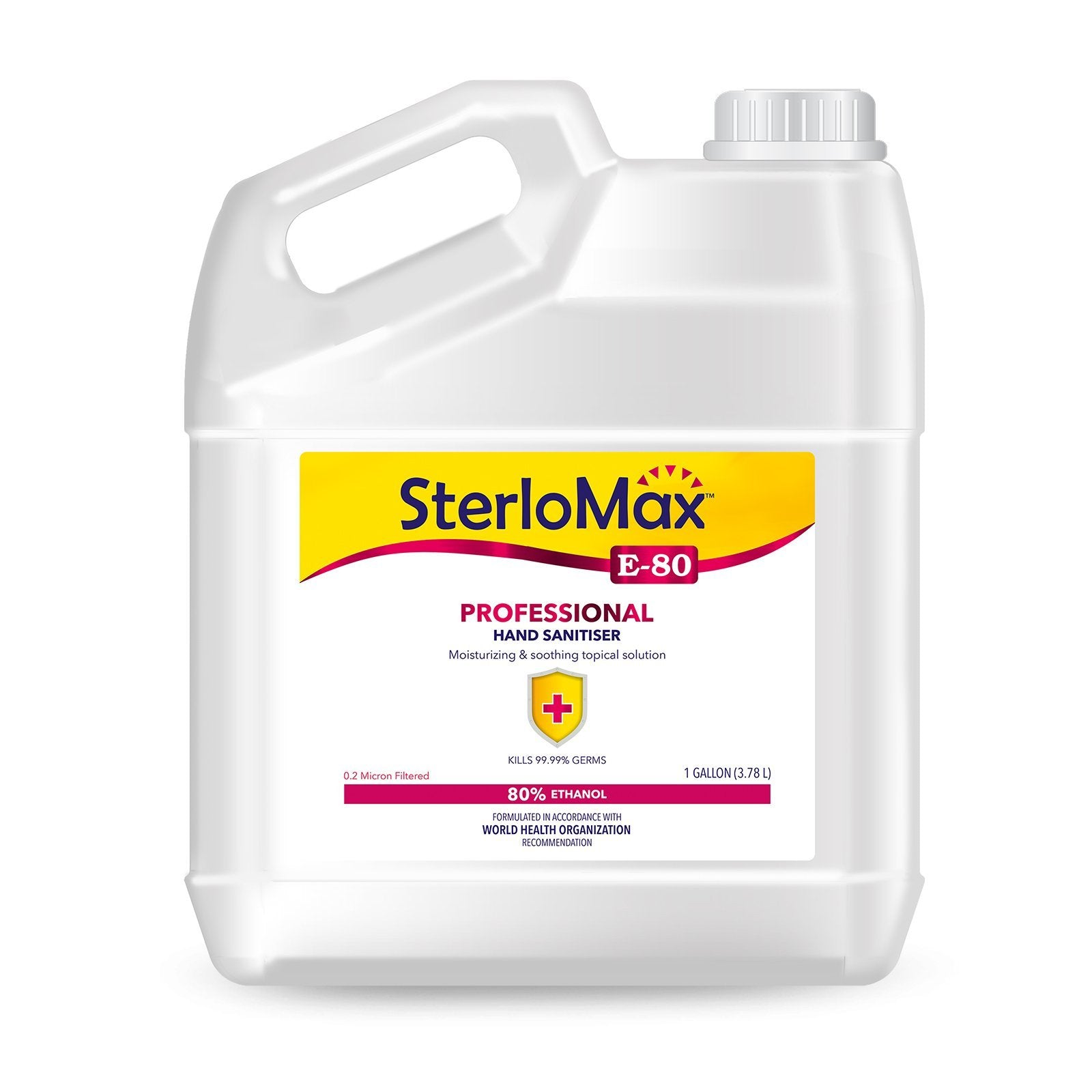 SterloMax E-80 Professional - 80% Ethanol-based Hand Rub Sanitizer and Disinfectant. 1 Gallon (128 Fl Oz)