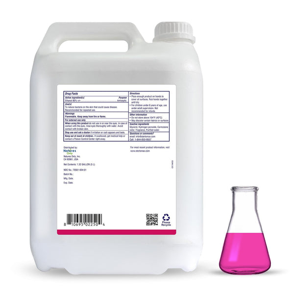 SterloMax E-80 Professional - 80% Ethanol-based Hand Rub Sanitizer and Disinfectant. 1.32 Gallon (5 Litres)
